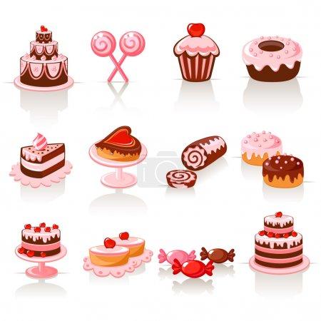 Illustration pour Icônes de pâtisserie sucrée - image libre de droit