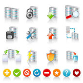 Set of 12 colorful database icons