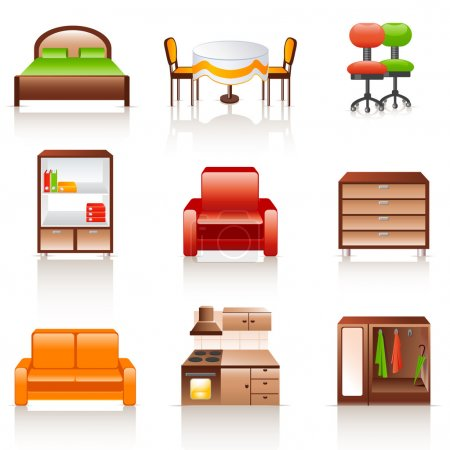 Illustration for Set of 9 colorful furniture icons - Royalty Free Image