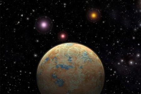 Alien planet exoplanet 3d render...