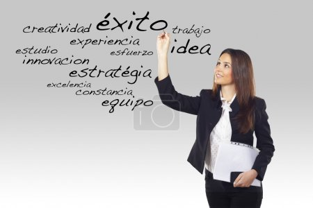 Portrait of a beautiful young woman writing business spanish words