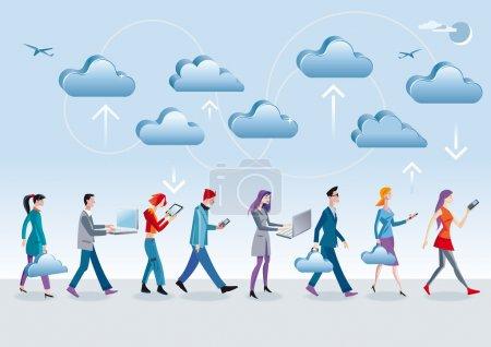 Foto de Ocho personajes diferentes, hombres y mujeres, acceso a los datos en la nube de internet con móviles diferentes dispositivos (móvil, ordenador portátil, tablet) como caminan y están en movimiento - Imagen libre de derechos