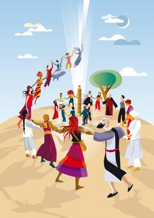 Photo pour Un groupe de pratiquants de différentes religions, races et cultures, font un cercle et prient ensemble en unissant leurs mains . - image libre de droit