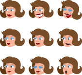 Various Woman's Facial Expressions