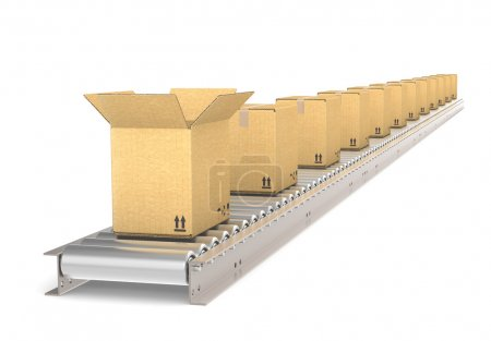 Photo for Perspective view of a Conveyor Belt of steel with boxes. Front box open. Part of warehouse and logistics series. - Royalty Free Image