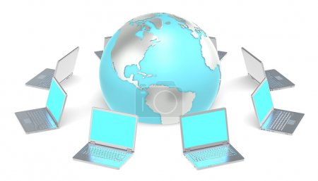 Photo for 8 Laptops in a circle around the Globe. Illuminative blue screens. - Royalty Free Image
