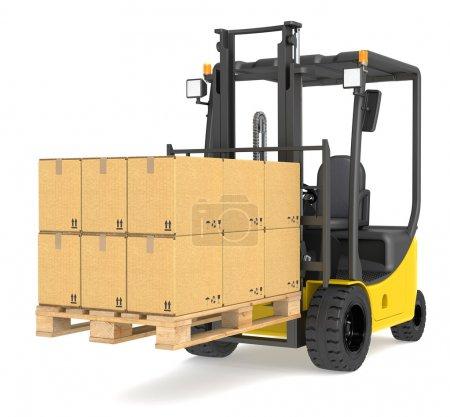 Photo pour Chariot élévateur avec une palette et boîtes. série d'entrepôt et logistique. - image libre de droit