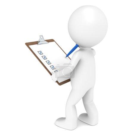Photo pour 3D caractère humain peu l'inspecteur un panneau d'agrafe et un stylo. édition bleue. série. - image libre de droit