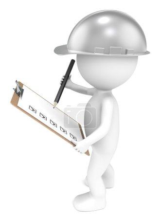 Photo pour Petit personnage humain 3D The Builder tenant un Clip Board et un Crayon. Retro Steel. séries . - image libre de droit