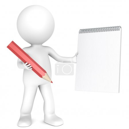 3D little human character holding a Blank Notepad ...