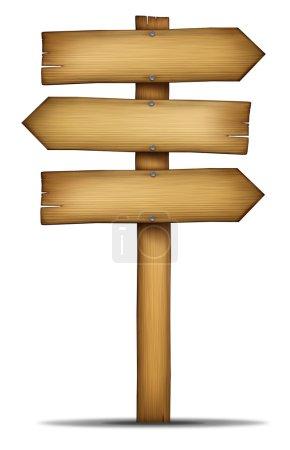 Photo pour Signe de direction en bois avec poteau comme vieux bois de thème occidental et élément de conception de grain de bois altéré de la communication comme un élément de choix et des solutions avec une zone vierge pour le texte sur un fond blanc . - image libre de droit