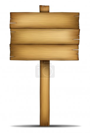 Wooden Sign Board with pole
