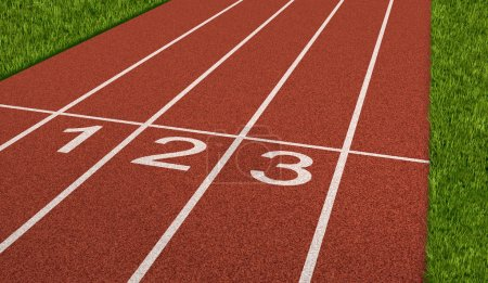 Photo for Competition sport concept at the starting line as a business symbol of the metaphore saying ready set go for the beginnings of a planned strategy for success as represented by a track and field stadium background as an icon of opportunity and setting - Royalty Free Image
