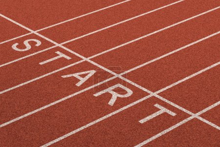 Photo for Starting line as a business symbol of the metaphore saying ready set go for the start or beginnings of a planned strategy for success as represented by a track and field stadium background as a concept of opportunity and setting goals. - Royalty Free Image
