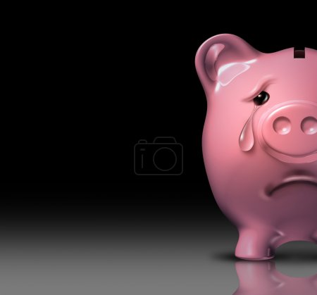 Photo for Financial despair and bankruptcy crisis due to poor savings and bad home finances and budgeting represented by a sad piggy bank crying with a tear of depression on a black background. - Royalty Free Image
