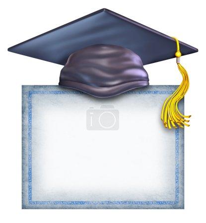 Photo pour Chapeau de fin d'études avec un diplôme vierge isolé sur fond blanc comme symbole d'un certificat de réussite scolaire et recevant une bourse d'études collégiales ou secondaires . - image libre de droit