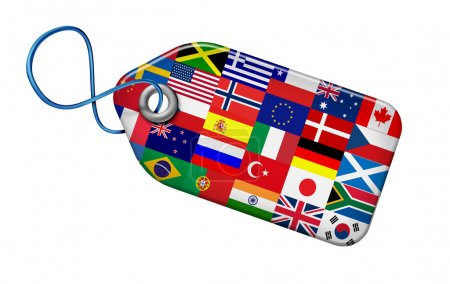 Photo pour Concept de marchés mondiaux avec des drapeaux du monde entier sur une forme d'étiquette de prix comme un symbole et l'icône du système économique financière et commerciales internationales et l'industrie de la fabrication du globe isolé sur blanc. - image libre de droit