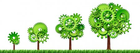 Photo for Growing economy industry business growth green power gears cogs tree industrial environmental motion agriculture isolated - Royalty Free Image