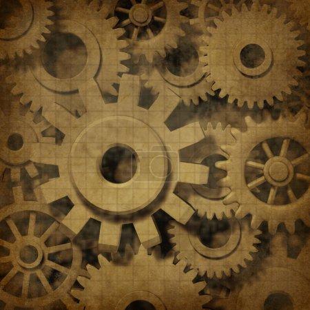 Photo pour Engrenages et engrenages dans un ancien document de texture de parchemin grunge ancien comme concept de mécanique industrielle et économique sur papier vintage . - image libre de droit
