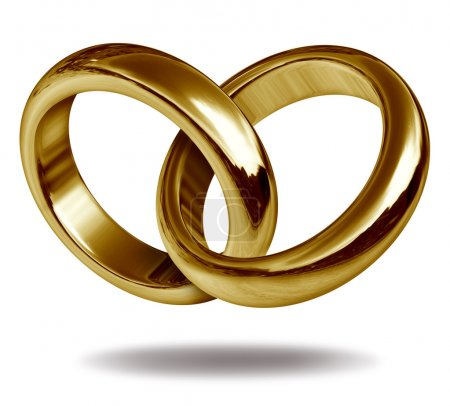 Photo for Rings linked together to form the golden shape of a heart representing the concept of love and eternity. - Royalty Free Image