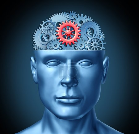 Photo for Human brain function represented by red and blue gears in the shape of a head representing the symbol of mental health and neurological functioning in patients with a depression disability. - Royalty Free Image