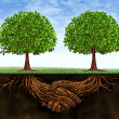 Business teamwork growth as a symbol of financial ...