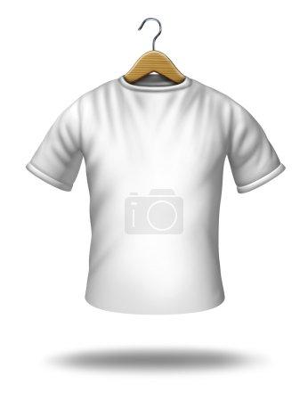 Foto de Colgador de ropa sobre una camisa blanca en blanco o camiseta colgando en el aire como un símbolo del icono de mercancía y textil. - Imagen libre de derechos