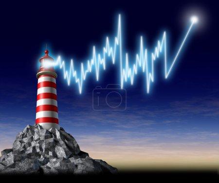 Photo pour Investissant des conseils financiers représentés par un phare avec un accroche lumière brillante sous la forme d'un graphique boursier qui est orientée à la hausse - image libre de droit