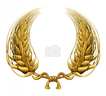 Photo for Gold laurel wreath of golden wheat representing an award and success of winning and a certified achievement as a decorative element made of twisted 3d wheat gr - Royalty Free Image