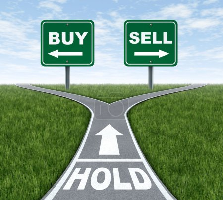 Photo for Buy and sell or hold decision dilemma crossroads of financial investing using a stock broker investment adviser and a symbol of difficult choices for profit or - Royalty Free Image