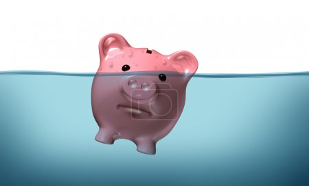 Photo for Drowning in debt and keeping your financial head above water represented by a piggy bank pink pig sinking in blue water as a symbol of urgent business and money - Royalty Free Image