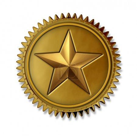 Photo pour Médaille d'or prix étoile comme un premier sceau lieu doré avec prix cote numéro un du meilleur service de classe et de la qualité pour gagner le plus haut niveau en clientèle - image libre de droit