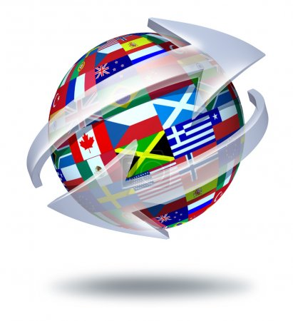 Photo for World communications symbol and global connections concept with international flags of the globe with two curved arrows going around the sphere as a social exc - Royalty Free Image
