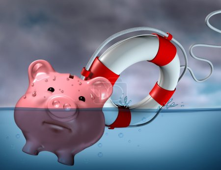 Photo for Financial Aid and rescue from debt problems and keeping your investments above water represented by a drowning pink piggy bank sinking in blue water with a life - Royalty Free Image