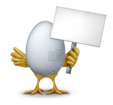 Funny Egg With A Blank Sign