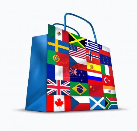 Photo pour Commerce mondial et le commerce mondial comme un symbole international de business trading dans les exportations et les importations pour la planète tout entière représentée par un financier b commerçant - image libre de droit