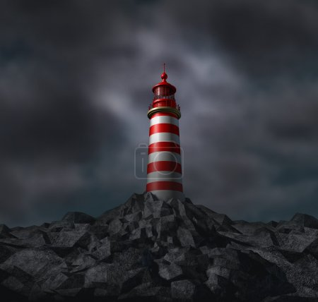 Photo for Trust and vision with a lighthouse and dark storm clouds on a solid foundation as a business concept of dependable financial guidance and planning with answers - Royalty Free Image