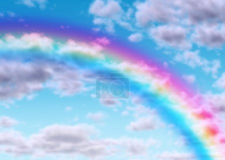Photo pour Arc-en-ciel sur un ciel bleu avec des nuages comme symbole de réussite espoir et chance avec le spectre de couleur de réfraction de la lumière de conditions météorologiques naturelles étonnantes - image libre de droit