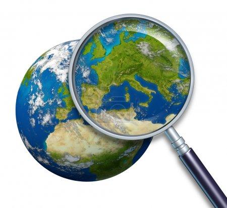 Photo pour Planète terre, en se concentrant sur les pays de l'europe et l'union européenne notamment france Allemagne Italie et Angleterre Grèce Espagne portugal entouré par l'océan bleu et nuage - image libre de droit
