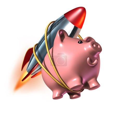Photo pour Compte d'épargne plus élevé tirelire, avec une fusée attachée sur son dos comme un taux d'intérêt hausse rapide dans un compte et le succès financier avec forte investmen - image libre de droit