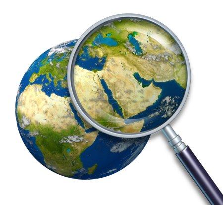 Photo pour Crise au Moyen-Orient planète terre avec des questions politiques du golfe Persique et du pétrole brut avec le pays dont l'iran Israël Egypte Libye Koweït Syrie arabe saoudien - image libre de droit