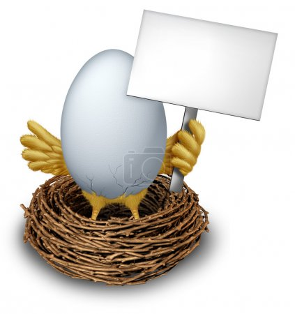 Egg In a Nest Holding a Blank Sign