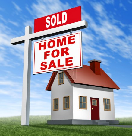 Sold home for sale sign and house as a real estate...