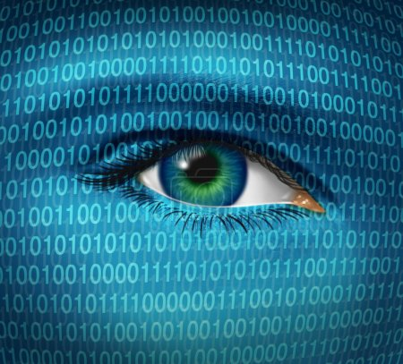Photo for Internet security and privacy issues with a human eye and digital binary code representing surveillance of hackers or hacking from cyber criminals watching pro - Royalty Free Image