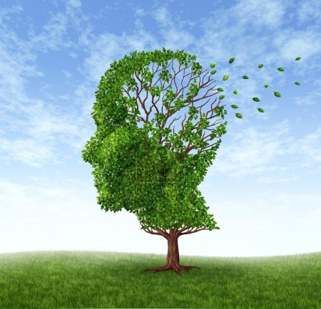 Photo for Memory loss due to Dementia and Alzheimer's disease with the medical icon of a tree in the shape of a human head and brain losing leaves. - Royalty Free Image