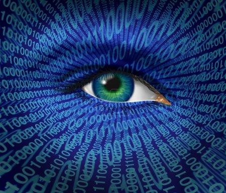 Photo pour Sécurité technologique et questions de sécurité et de confidentialité sur Internet avec un œil humain et un code binaire numérique comme surveillance des pirates informatiques ou piratage de cybercriminels w - image libre de droit