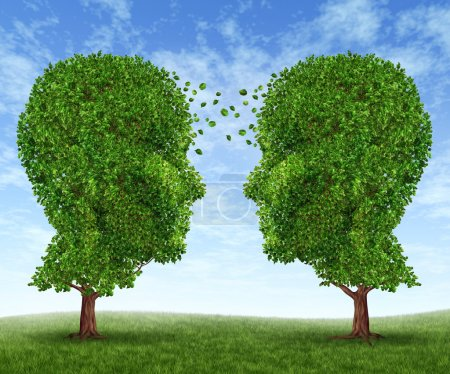 Photo for Growing partnership and teamwork communication in business with two trees in the shape of human heads on a blue sky growing together with leaves exchanging from - Royalty Free Image