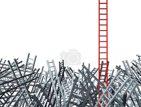 Photo pour Nouvelle pensée comme une solution à un problème commercial et novatrice bonne idée comme une échelle rouge, se démarquant d'un groupe de confus comme échelles grises dans désorienté - image libre de droit
