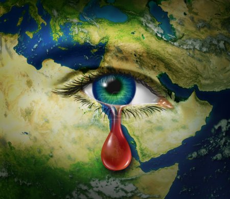 Photo for Violence in the middle east as a map of countries as Egypt Syria Iran Israel Saudi Arabia Libya Yemen Iraq with an eye that is crying a red tear of blood as a s - Royalty Free Image