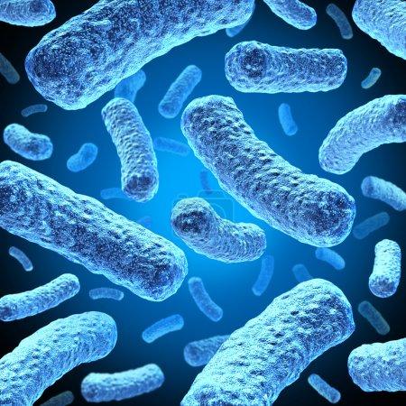 Photo pour Bactéries et cellules de bactérie flottant dans l'espace microscopique comme une illustration médicale de l'infection bactérienne de la maladie dans un corps humain ou une substance organique sous forme d'une icône de santé. - image libre de droit